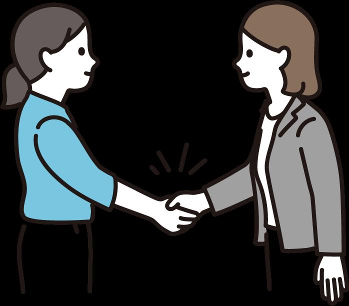 握手をする女性たち