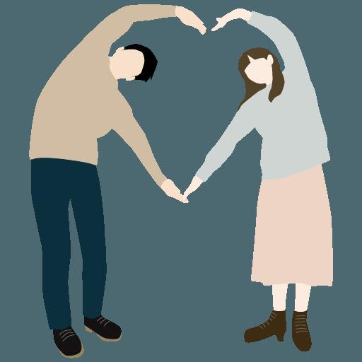 夫婦の仲良しイラスト